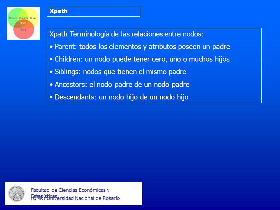 Facultad de Ciencias Económicas y Estadísticas (UNR) Universidad Nacional de Rosario Xpath Xpath Terminología de las relaciones entre nodos: Parent: t