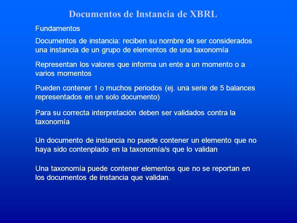 Documentos de Instancia de XBRL Fundamentos Documentos de instancia: reciben su nombre de ser considerados una instancia de un grupo de elementos de u