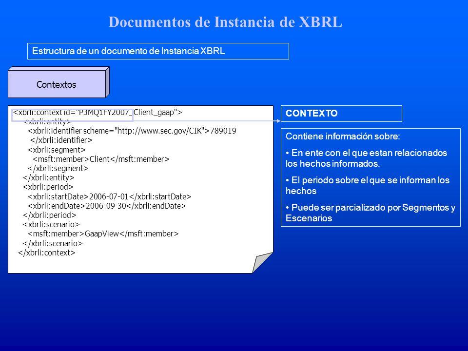Documentos de Instancia de XBRL Estructura de un documento de Instancia XBRL Contextos 789019 Client 2006-07-01 2006-09-30 GaapView CONTEXTO Contiene