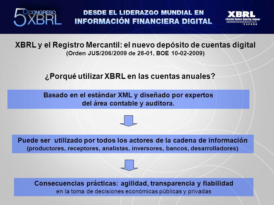 XBRL y el Registro Mercantil: el nuevo depósito de cuentas digital (Orden JUS/206/2009 de 28-01, BOE 10-02-2009) Contacto: info@xbrl.es www.xbrl.es Gracias por su atención © Colegio de Registradores 2010