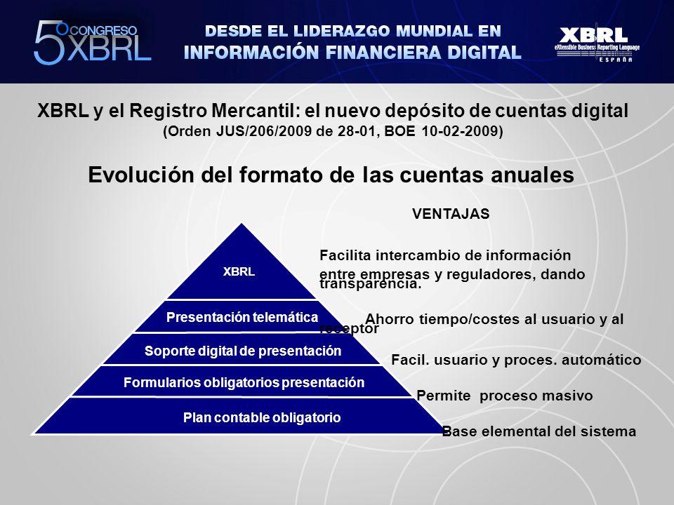 XBRL y el Registro Mercantil: el nuevo depósito de cuentas digital (Orden JUS/206/2009 de 28-01, BOE 10-02-2009) En 2009, el 69,75% de los depósitos se realizan en soporte digital.
