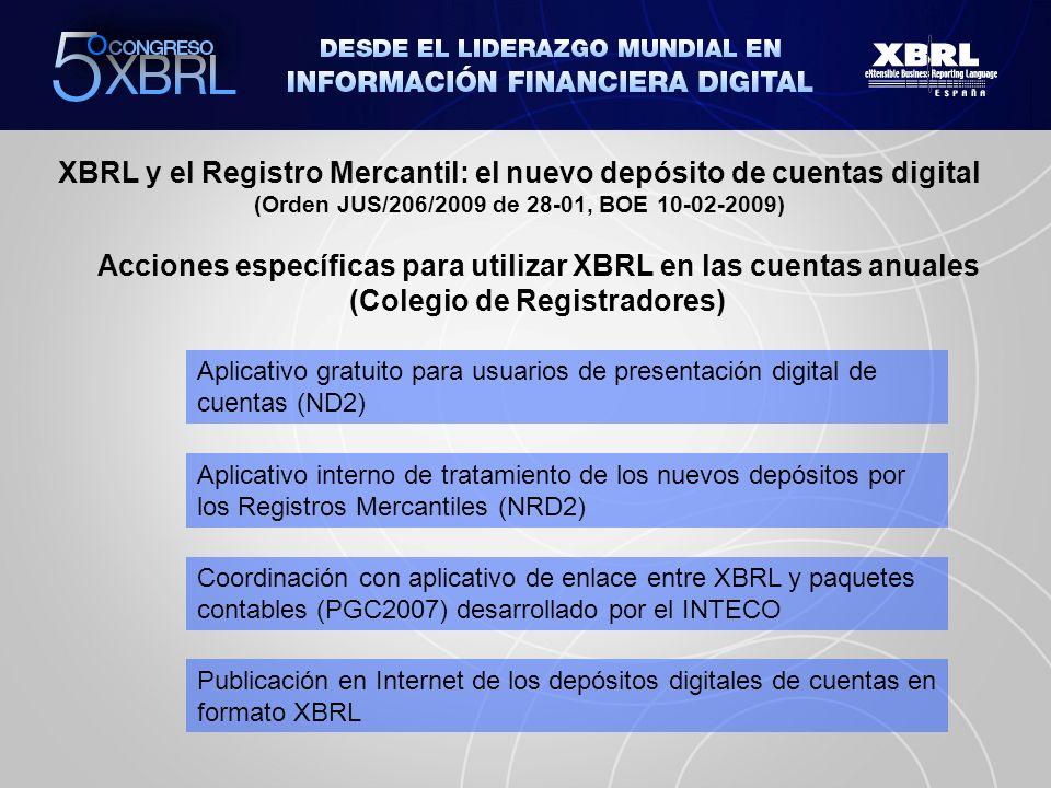 XBRL y el Registro Mercantil: el nuevo depósito de cuentas digital (Orden JUS/206/2009 de 28-01, BOE 10-02-2009) Contenido del fichero del depósito digital / telemático Depósito.zip DEPÓSITO.XBRL Datos Generales de Identificación Balance – Pérdidas y Ganancias – Cambios patrimonio neto – Flujos de efectivo – Memoria (facultativo) DEPÓSITO.XML Instancia Presentación Modelo de Autocartera Declaración medioambiental Identificación administradores Ficheros adjuntos Modelo de autocartera – Informe de Gestión Informe de Auditoría – Anuncios de convocatoria Certificación SICAV Memoria (facultativo)