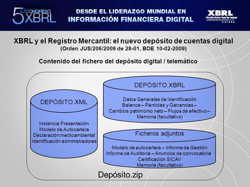 XBRL y el Registro Mercantil: el nuevo depósito de cuentas digital (Orden JUS/206/2009 de 28-01, BOE 10-02-2009) Registro Mercantil, califica y procesa las cuentas El portal de Registradores proporciona vía Internet las cuentas anuales en FORMATO DIGITAL (con XBRL) Sociedades mercantiles, elaboran sus cuentas anuales digitalmente XBRL Analistas, auditores, bancos, etc.
