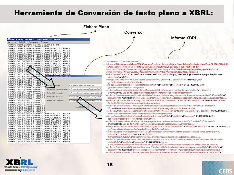 18 Herramienta de Conversión de texto plano a XBRL: Fichero Plano Informe XBRL Conversor