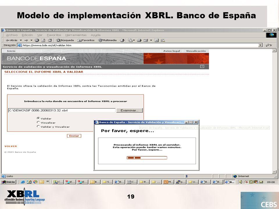 19 Modelo de implementación XBRL. Banco de España