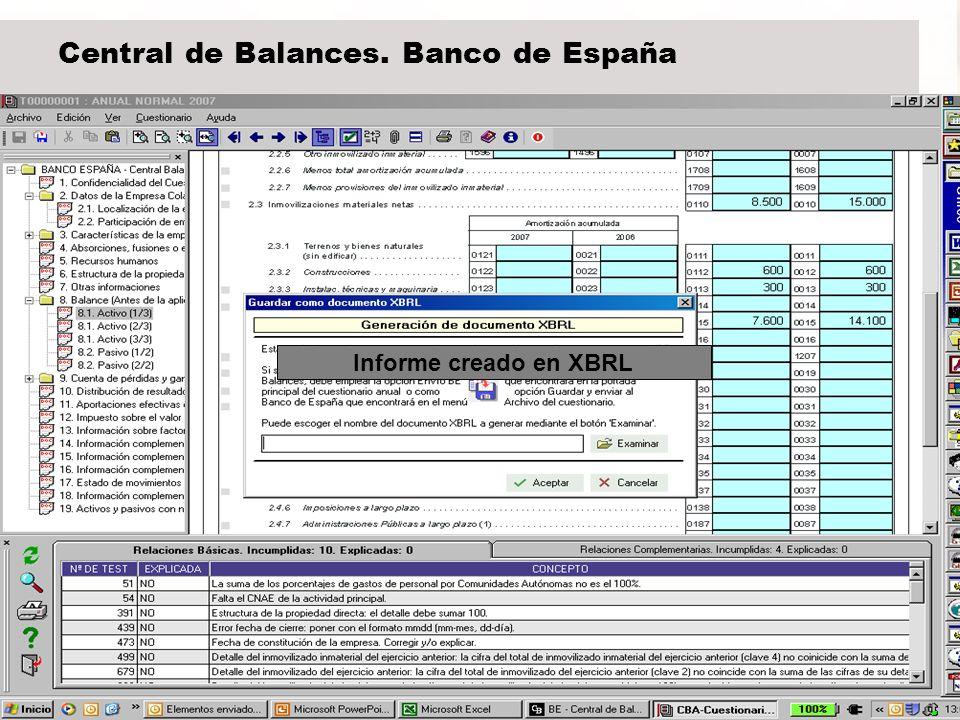 21 Central de Balances. Banco de España Informe creado en XBRL