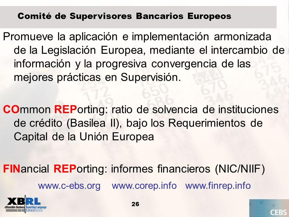 26 Comité de Supervisores Bancarios Europeos Promueve la aplicación e implementación armonizada de la Legislación Europea, mediante el intercambio de
