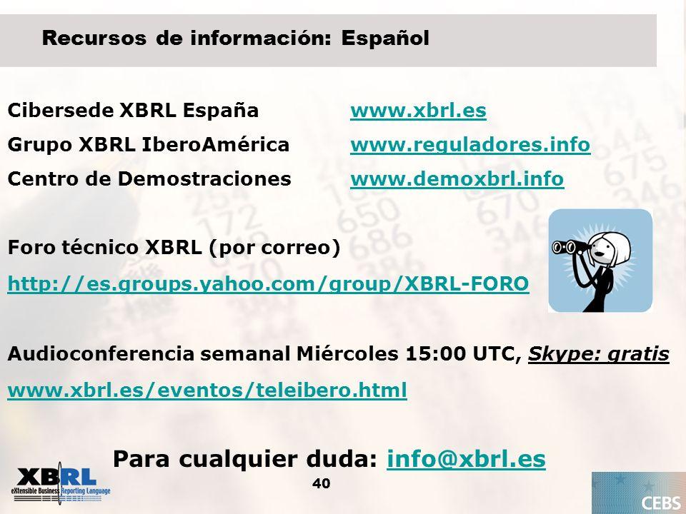 40 Recursos de información: Español Cibersede XBRL Españawww.xbrl.eswww.xbrl.es Grupo XBRL IberoAméricawww.reguladores.infowww.reguladores.info Centro