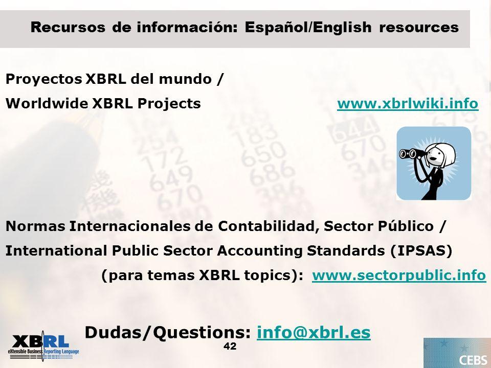 42 Recursos de información: Español/English resources Proyectos XBRL del mundo / Worldwide XBRL Projects www.xbrlwiki.infowww.xbrlwiki.info Normas Int
