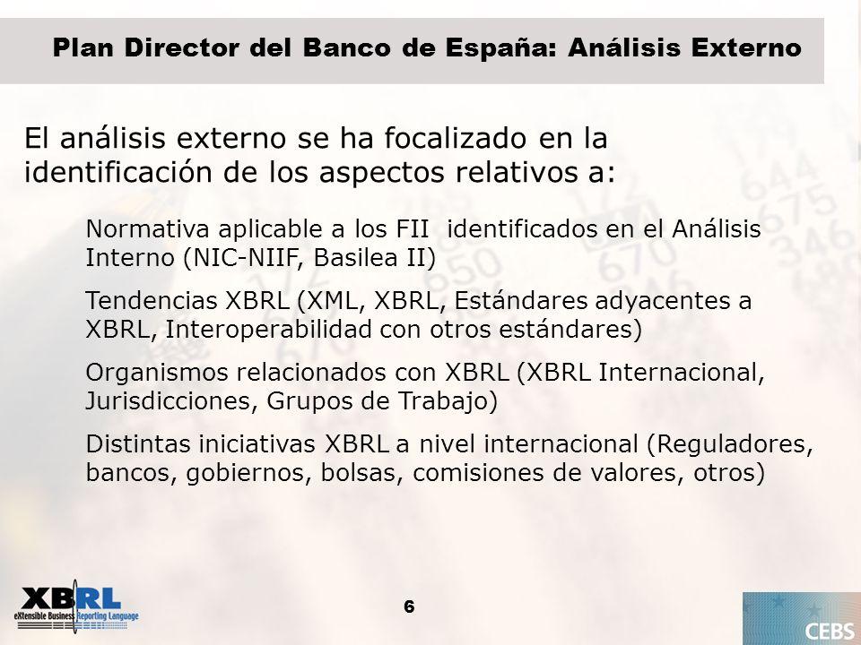 6 Plan Director del Banco de España: Análisis Externo El análisis externo se ha focalizado en la identificación de los aspectos relativos a: Normativa