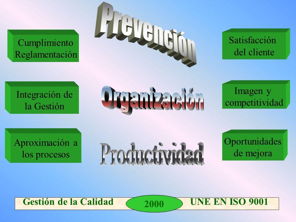 2000 Gestión de la Calidad UNE EN ISO 9001 Satisfacción del cliente Imagen y competitividad Cumplimiento Reglamentación Integración de la Gestión Oportunidades de mejora Aproximación a los procesos