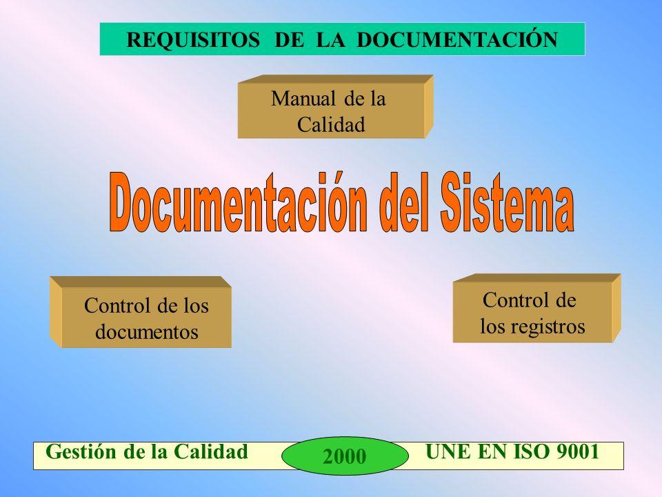 2000 Gestión de la Calidad UNE EN ISO 9001 Manual de la Calidad Control de los documentos REQUISITOS DE LA DOCUMENTACIÓN Control de los registros