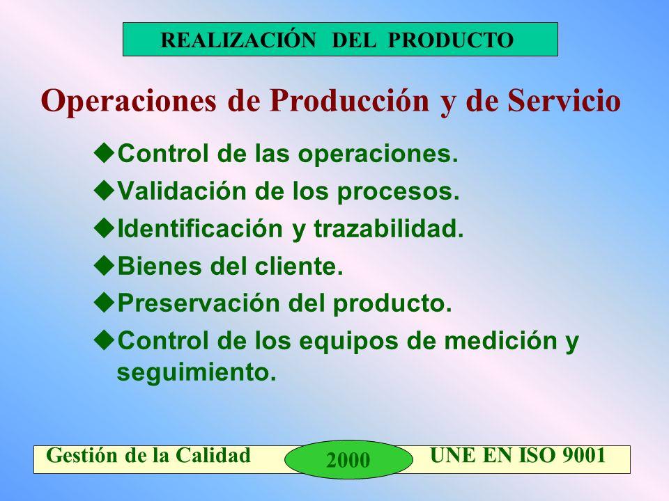 2000 Gestión de la Calidad UNE EN ISO 9001 REALIZACIÓN DEL PRODUCTO uControl de las operaciones. uValidación de los procesos. uIdentificación y trazab