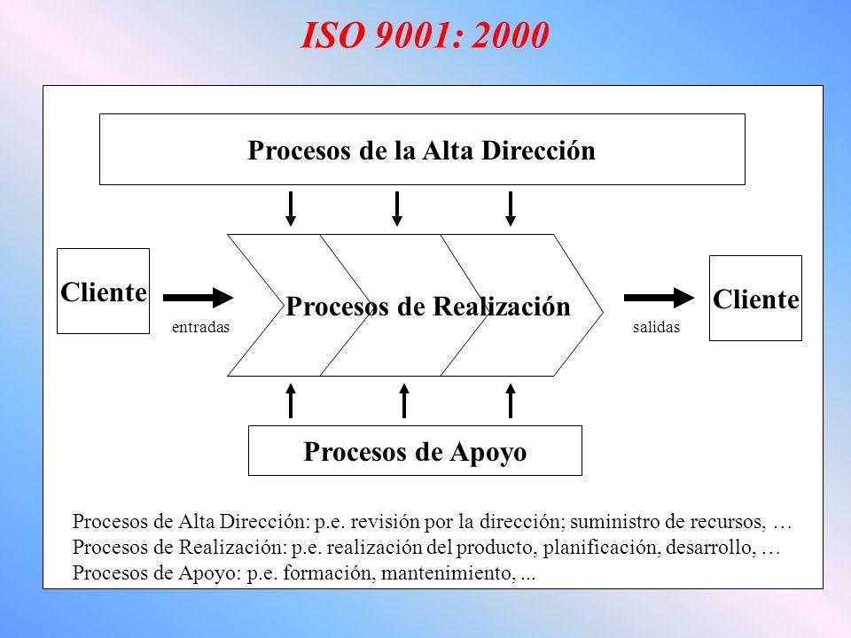 ISO 9001: 2000 Procesos de la Alta Dirección Cliente Procesos de Realización entradassalidas Procesos de Apoyo Procesos de Alta Dirección: p.e.