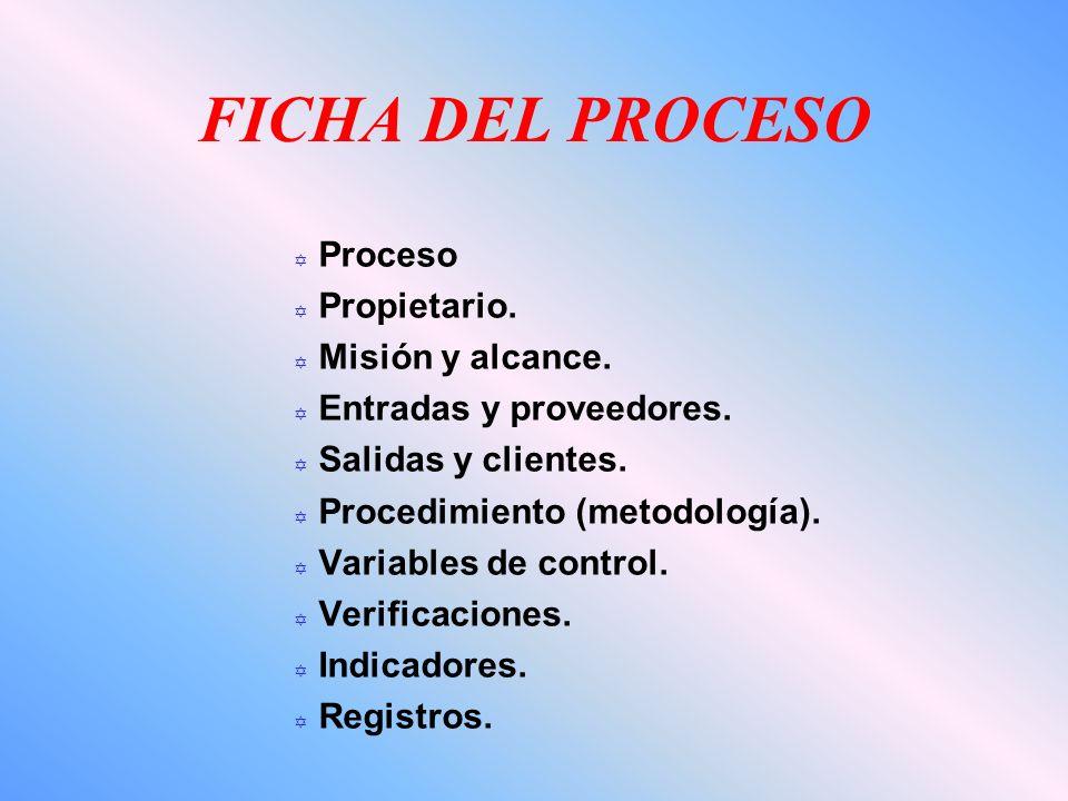 FICHA DEL PROCESO Y Proceso Y Propietario. Y Misión y alcance. Y Entradas y proveedores. Y Salidas y clientes. Y Procedimiento (metodología). Y Variab