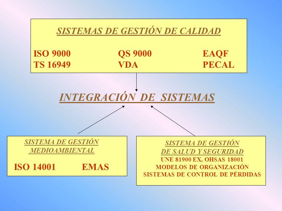 SISTEMAS DE GESTIÓN DE CALIDAD ISO 9000QS 9000EAQF TS 16949VDAPECAL SISTEMA DE GESTIÓN MEDIOAMBIENTAL ISO 14001 EMAS SISTEMA DE GESTIÓN DE SALUD Y SEGURIDAD UNE 81900 EX, OHSAS 18001 MODELOS DE ORGANIZACIÓN SISTEMAS DE CONTROL DE PÉRDIDAS INTEGRACIÓN DE SISTEMAS