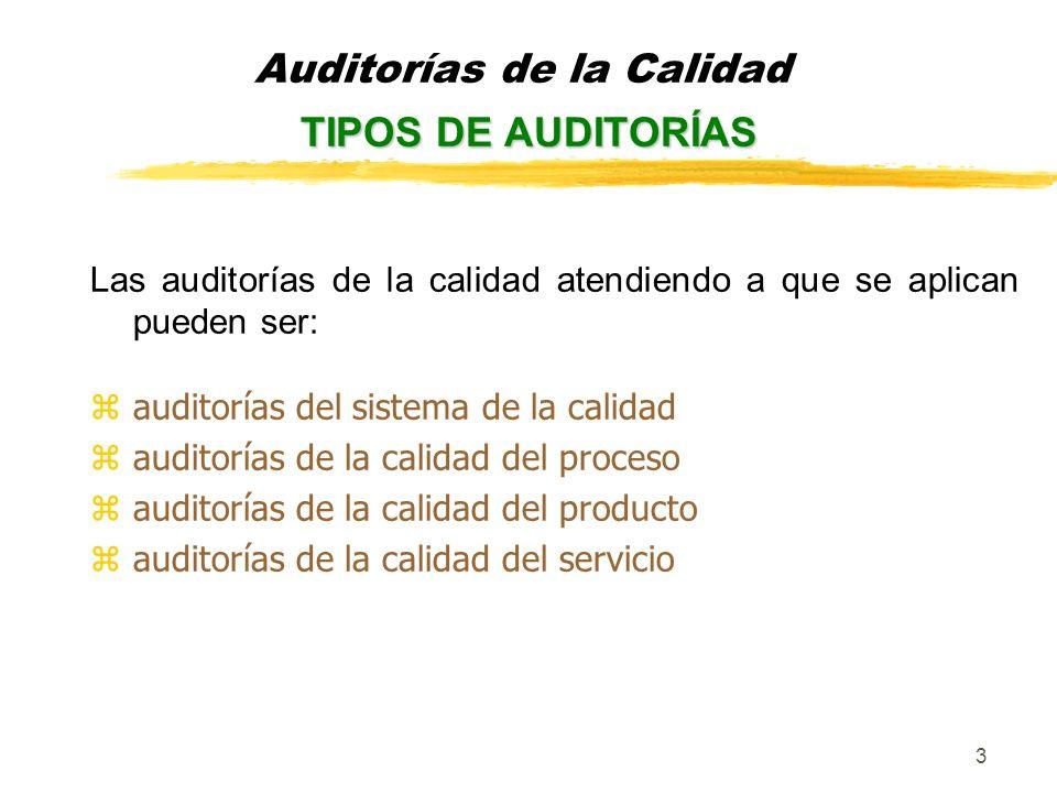4 Las auditorías de la calidad, teniendo en cuenta quien audita, pueden ser: yInternas, son las realizadas por iniciativa de una organización en su propia organización, las pueden realizar personal de la empresa o externo contratado.