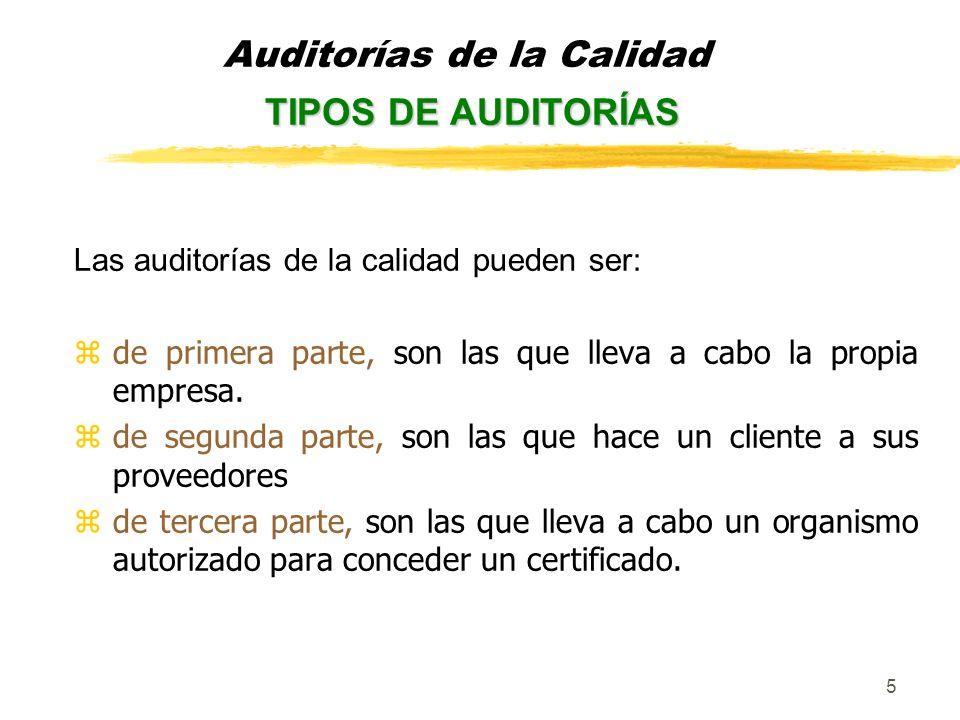 6 Las auditorías de la calidad también pueden ser: zparciales zglobales y: zprogramada zextraordinaria TIPOS DE AUDITORÍAS Auditorías de la Calidad TIPOS DE AUDITORÍAS