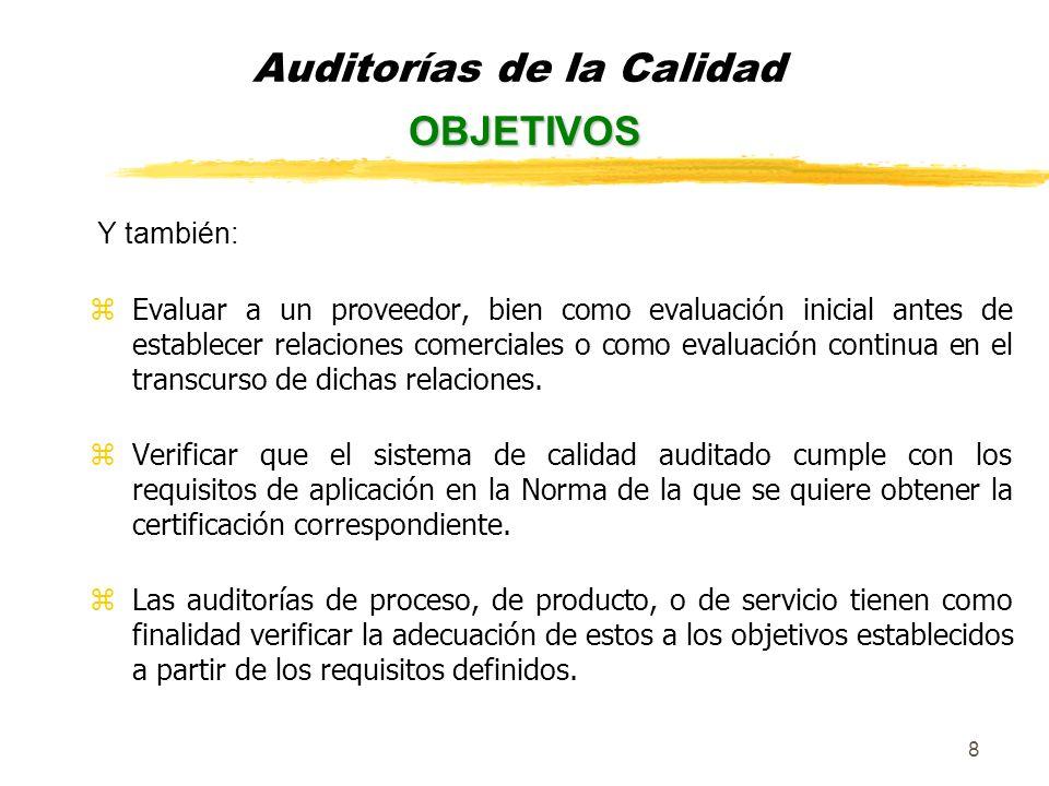 9 Las normas existentes sobre auditorías son las siguientes: yISO 10011-1:1990 Reglas generales para la auditoría de los sistemas de la calidad.