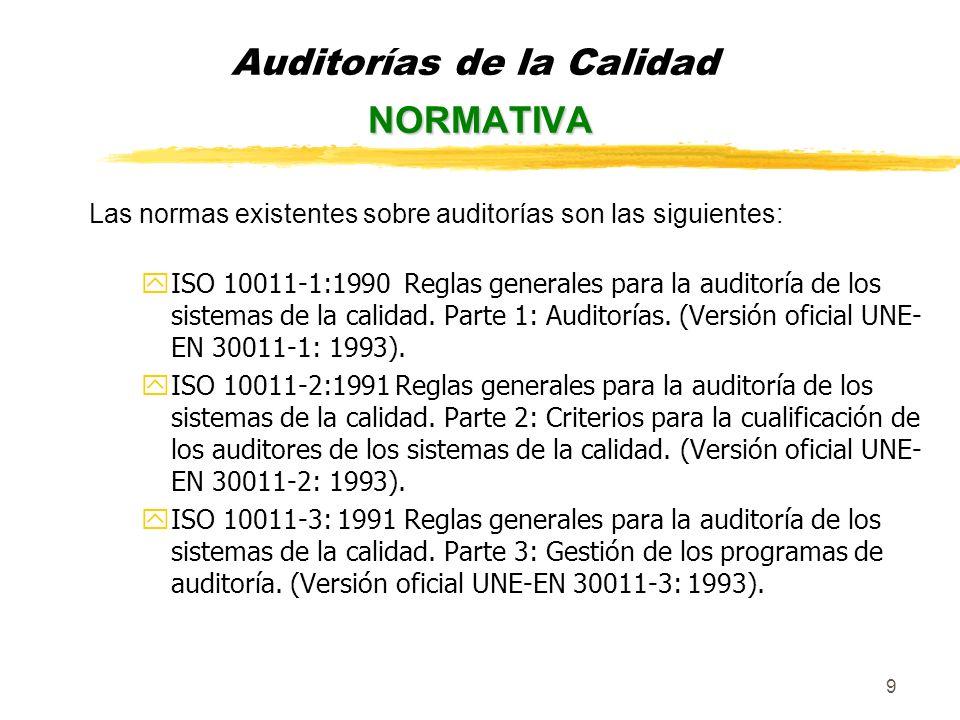 10 En este momento se encuentra en fase de borrador la norma UNE-EN ISO 19001 Directrices sobre auditorías de Sistemas de Gestión de la Calidad y Medioambiente, está prevista su aprobación para el año 2002.