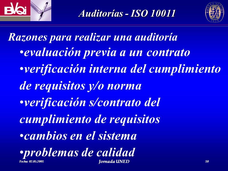 Fecha: 02.05.2001 Jornada UNED 10 Auditorías - ISO 10011 Fecha: 02.05.2001 Jornada UNED 10 Razones para realizar una auditoría evaluación previa a un