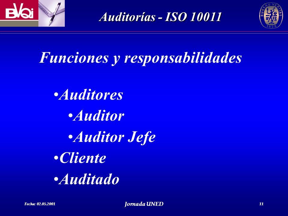 Fecha: 02.05.2001 Jornada UNED 11 Auditorías - ISO 10011 Fecha: 02.05.2001 Jornada UNED 11 Funciones y responsabilidades Auditores Auditor Auditor Jef