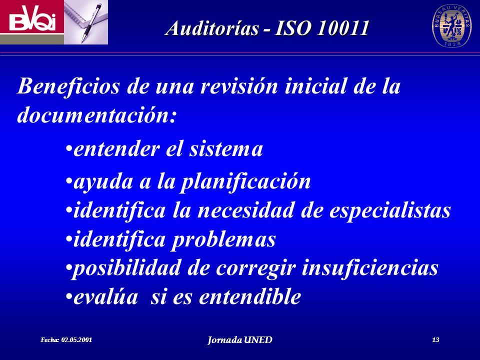 Fecha: 02.05.2001 Jornada UNED 13 Auditorías - ISO 10011 Fecha: 02.05.2001 Jornada UNED 13 Beneficios de una revisión inicial de la documentación: ent