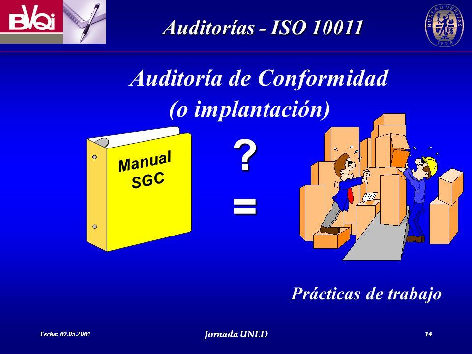 Fecha: 02.05.2001 Jornada UNED 14 Auditorías - ISO 10011 Fecha: 02.05.2001 Jornada UNED 14 Auditoría de Conformidad (o implantación) Manual SGC ?= Prá