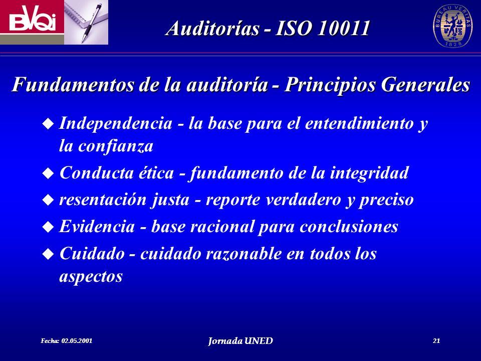 Fecha: 02.05.2001 Jornada UNED 21 Auditorías - ISO 10011 Fecha: 02.05.2001 Jornada UNED 21 u Independencia - la base para el entendimiento y la confia