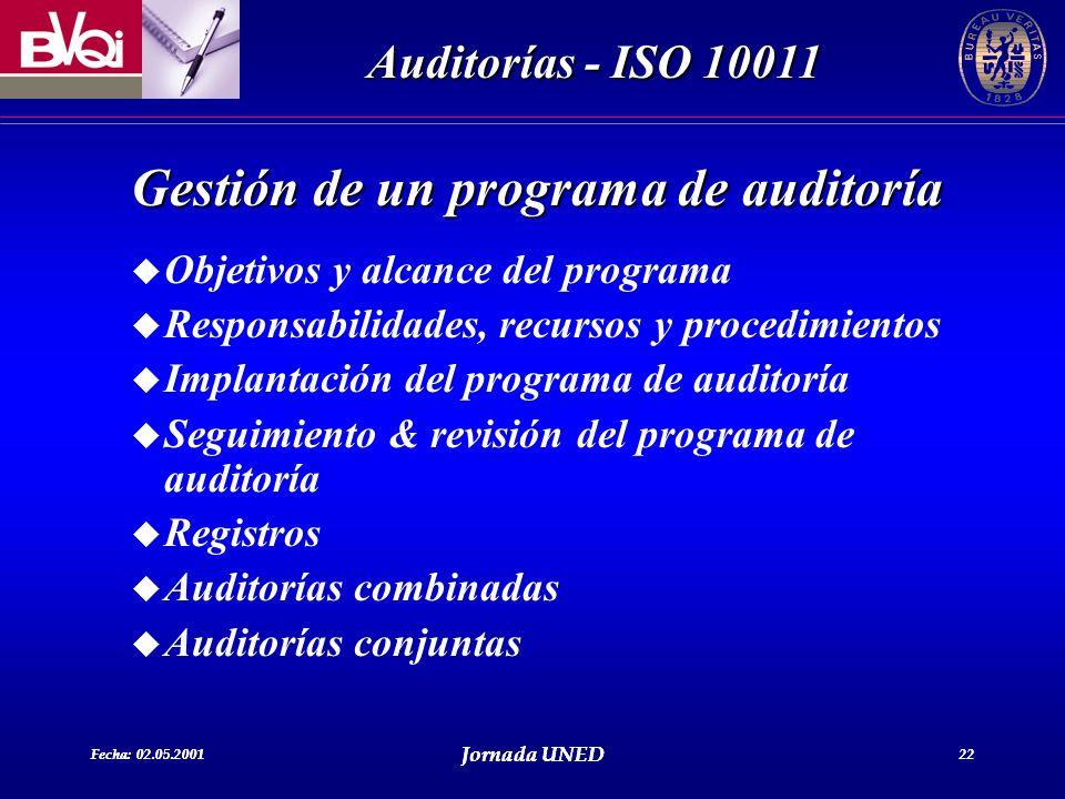 Fecha: 02.05.2001 Jornada UNED 22 Auditorías - ISO 10011 Fecha: 02.05.2001 Jornada UNED 22 Gestión de un programa de auditoría u Objetivos y alcance d
