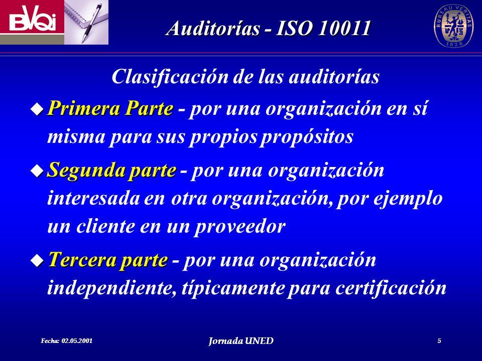 Fecha: 02.05.2001 Jornada UNED 5 Auditorías - ISO 10011 Fecha: 02.05.2001 Jornada UNED 5 Clasificación de las auditorías u Primera Parte u Primera Par