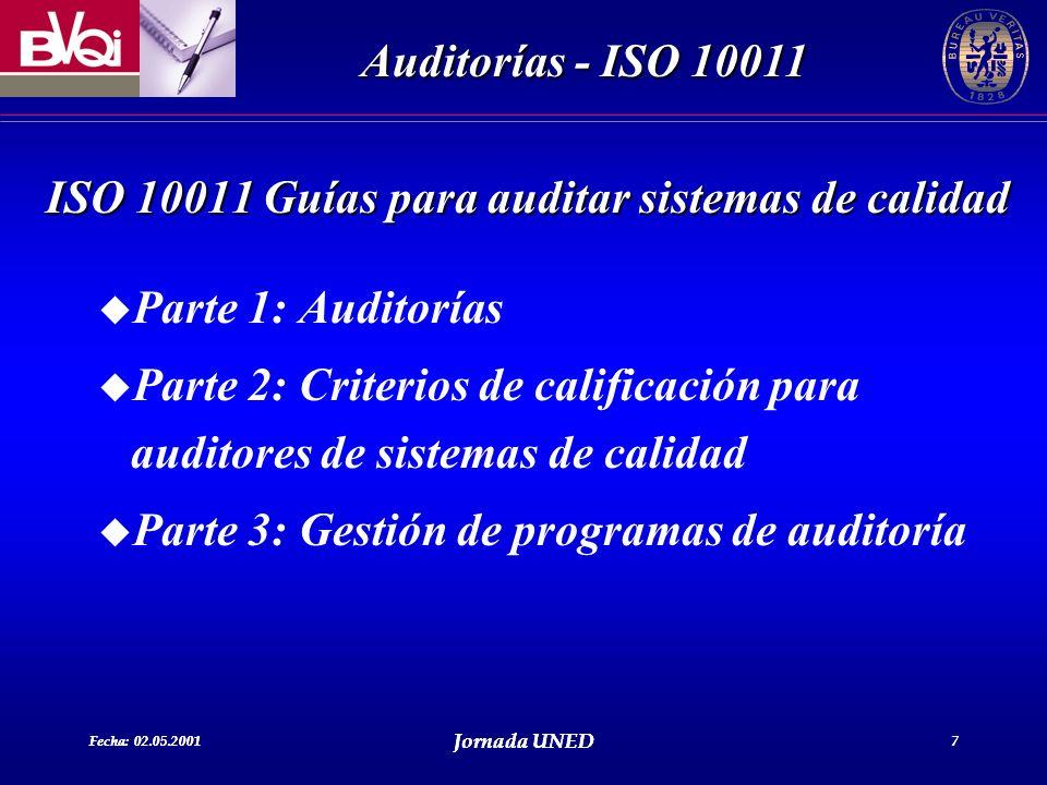 Fecha: 02.05.2001 Jornada UNED 7 Auditorías - ISO 10011 Fecha: 02.05.2001 Jornada UNED 7 ISO 10011 Guías para auditar sistemas de calidad u Parte 1: A