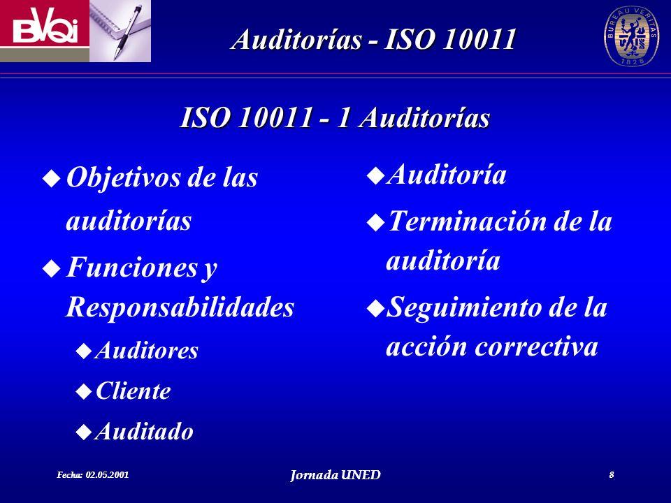 Fecha: 02.05.2001 Jornada UNED 8 Auditorías - ISO 10011 Fecha: 02.05.2001 Jornada UNED 8 u Objetivos de las auditorías u Funciones y Responsabilidades