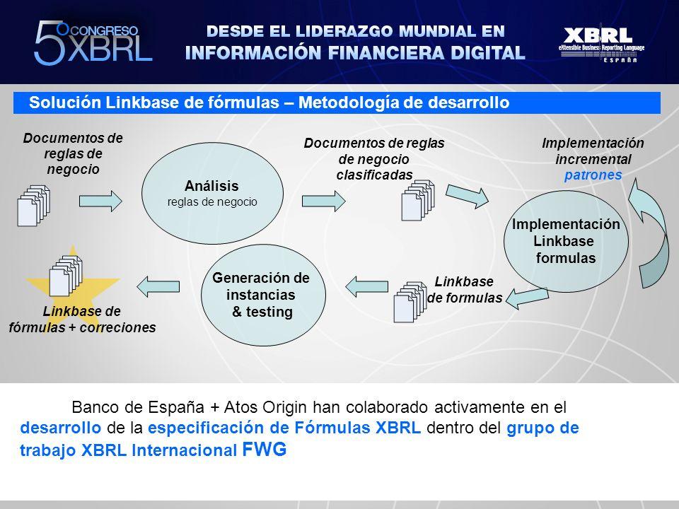 Situación actual – Validación fórmulas XBRL Legacy Database Emisor Instancias XBRL XBRL FRONT-END Datos validados Validaciones básicas XBRL Validación no XBRL de reglas de negocio 1 2 3 Datos reportados en la misma instancia XBRL Informar de errores de fórmulas Validaciones XBRL de reglas de negocio Validación contra otra información en base de datos Primer sistema en el mundo en validar con fórmulas XBRL 5% 80% 15%