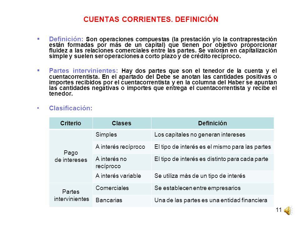11 CUENTAS CORRIENTES. DEFINICIÓN Definición: Son operaciones compuestas (la prestación y/o la contraprestación están formadas por más de un capital)