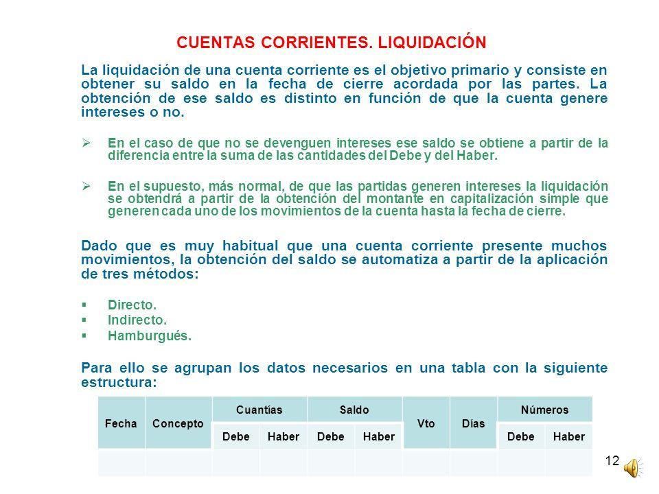 12 CUENTAS CORRIENTES. LIQUIDACIÓN La liquidación de una cuenta corriente es el objetivo primario y consiste en obtener su saldo en la fecha de cierre