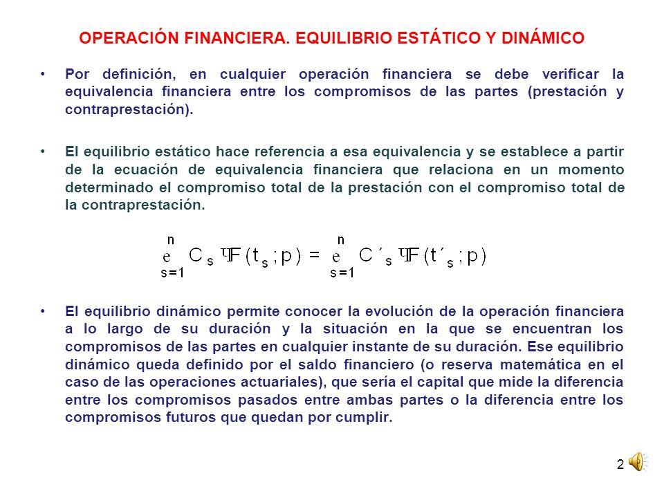 2 OPERACIÓN FINANCIERA. EQUILIBRIO ESTÁTICO Y DINÁMICO Por definición, en cualquier operación financiera se debe verificar la equivalencia financiera