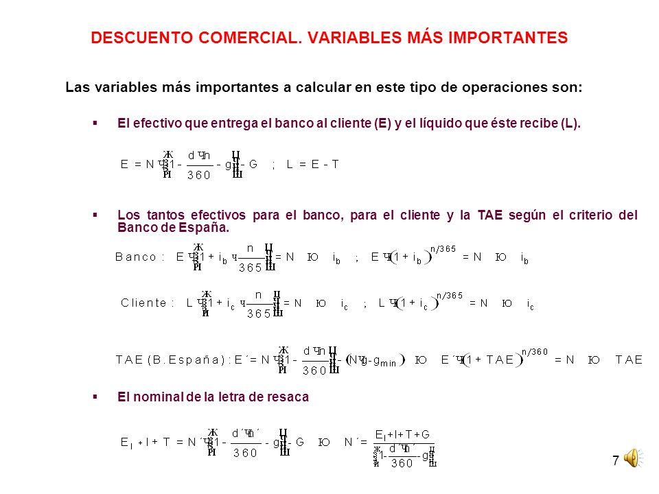 7 DESCUENTO COMERCIAL. VARIABLES MÁS IMPORTANTES Las variables más importantes a calcular en este tipo de operaciones son: El efectivo que entrega el