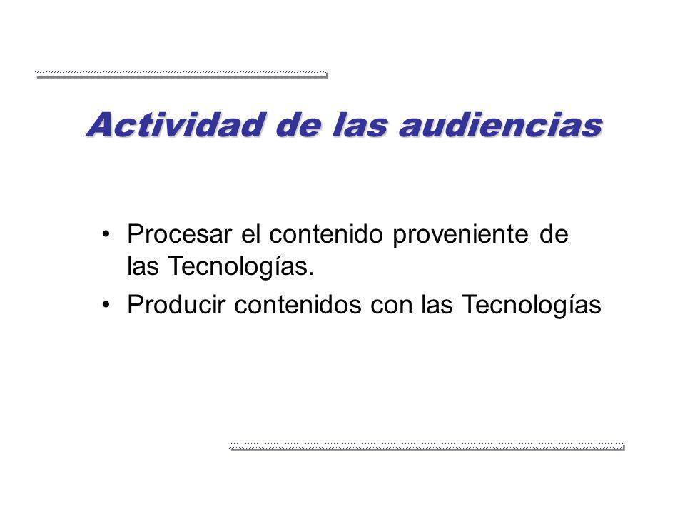 Actividad de las audiencias Procesar el contenido proveniente de las Tecnologías. Producir contenidos con las Tecnologías