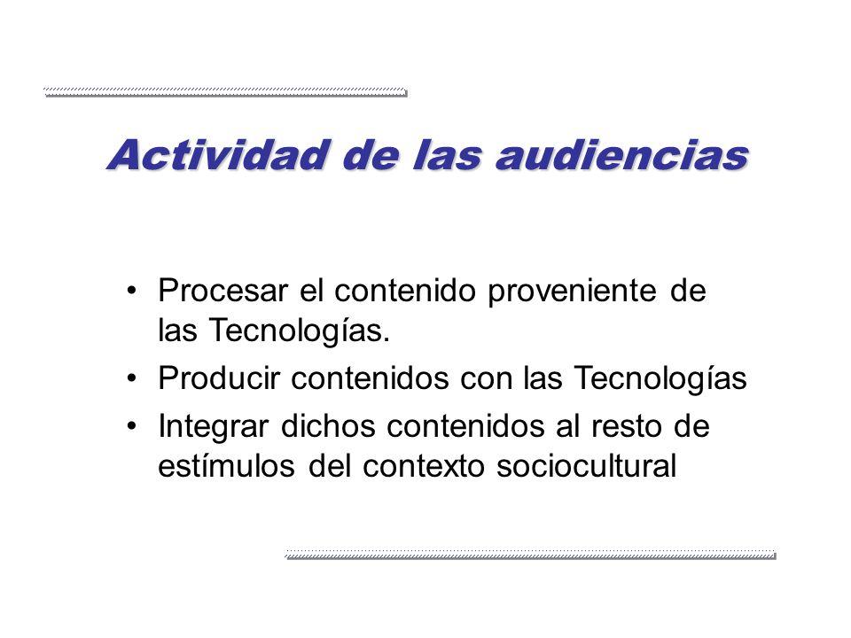 Actividad de las audiencias Procesar el contenido proveniente de las Tecnologías. Producir contenidos con las Tecnologías Integrar dichos contenidos a