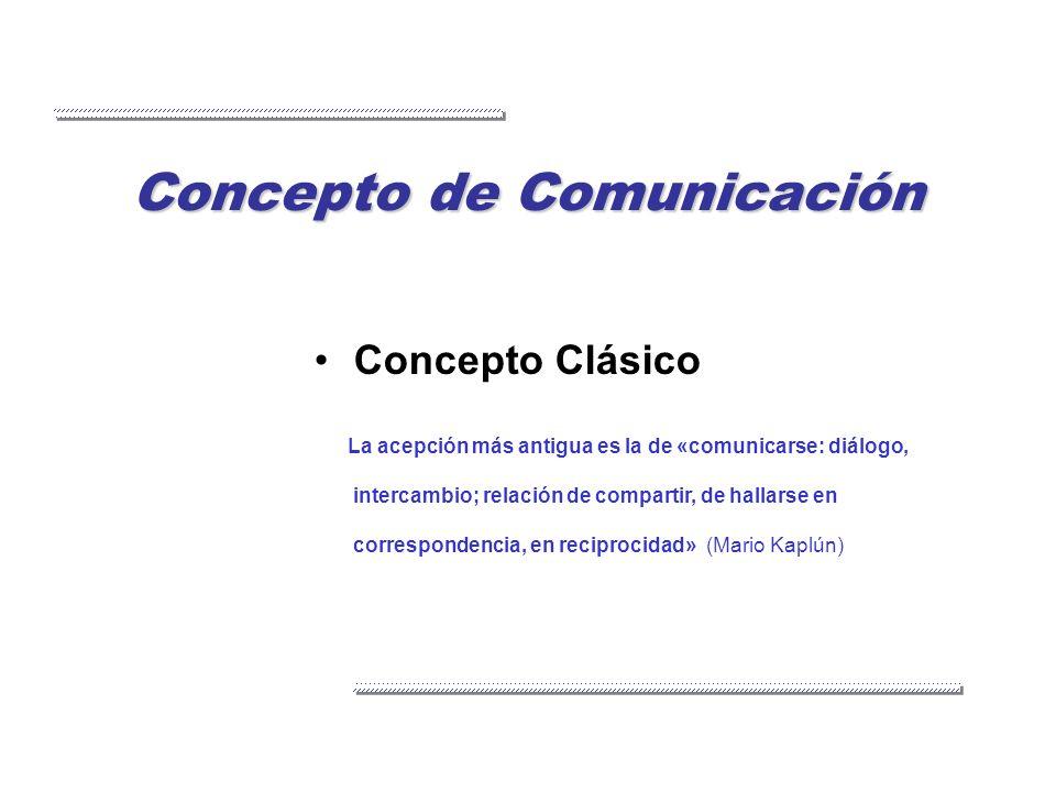 Concepto de Comunicación Concepto Clásico La acepción más antigua es la de «comunicarse: diálogo, intercambio; relación de compartir, de hallarse en c