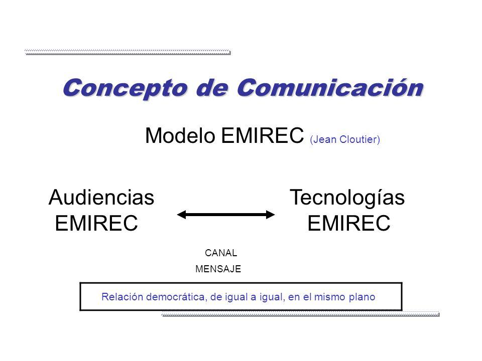 Concepto de Comunicación Modelo EMIREC (Jean Cloutier) AudienciasTecnologías EMIREC EMIREC CANAL MENSAJE Relación democrática, de igual a igual, en el