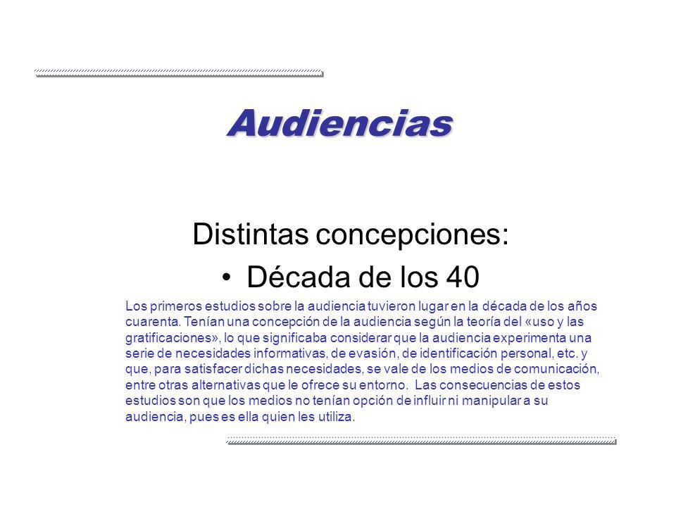 Audiencias Distintas concepciones: Década de los 40 Los primeros estudios sobre la audiencia tuvieron lugar en la década de los años cuarenta. Tenían