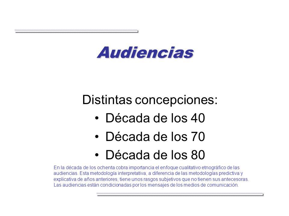 Audiencias Distintas concepciones: Década de los 40 Década de los 70 Década de los 80 En la década de los ochenta cobra importancia el enfoque cualita