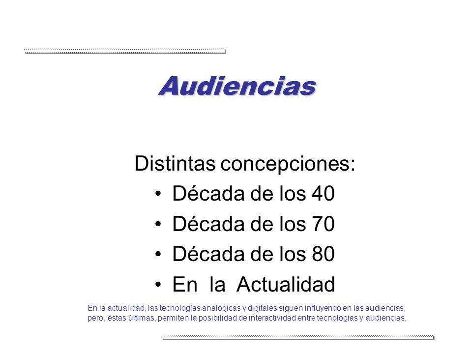 Audiencias Distintas concepciones: Década de los 40 Década de los 70 Década de los 80 En la Actualidad En la actualidad, las tecnologías analógicas y