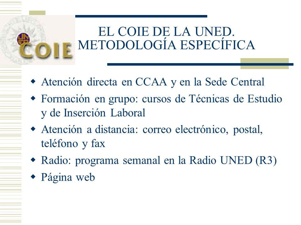 EL COIE DE LA UNED. METODOLOGÍA ESPECÍFICA Atención directa en CCAA y en la Sede Central Formación en grupo: cursos de Técnicas de Estudio y de Inserc