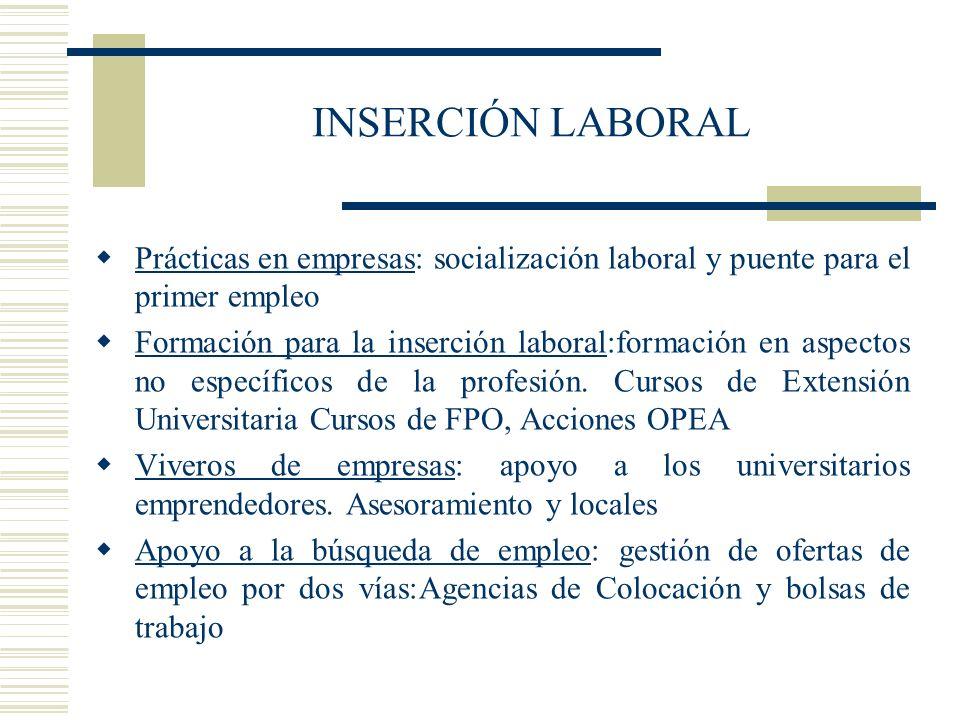 INSERCIÓN LABORAL Prácticas en empresas: socialización laboral y puente para el primer empleo Formación para la inserción laboral:formación en aspecto