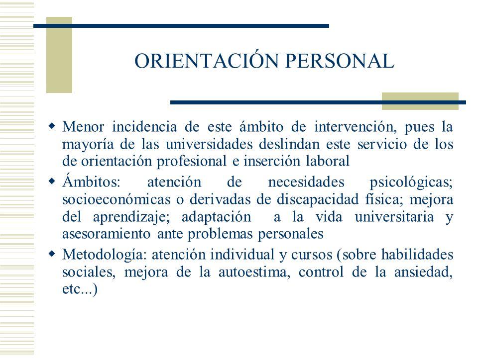 ORIENTACIÓN PERSONAL Menor incidencia de este ámbito de intervención, pues la mayoría de las universidades deslindan este servicio de los de orientaci