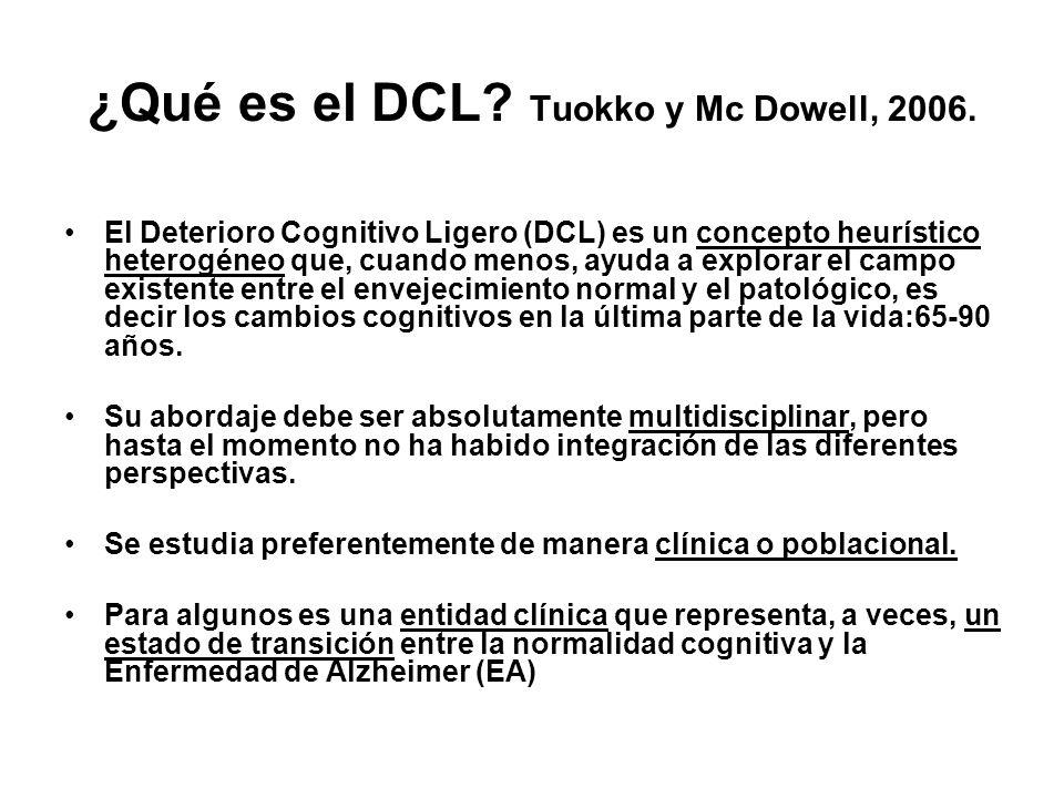 ¿Qué es el DCL? Tuokko y Mc Dowell, 2006. El Deterioro Cognitivo Ligero (DCL) es un concepto heurístico heterogéneo que, cuando menos, ayuda a explora