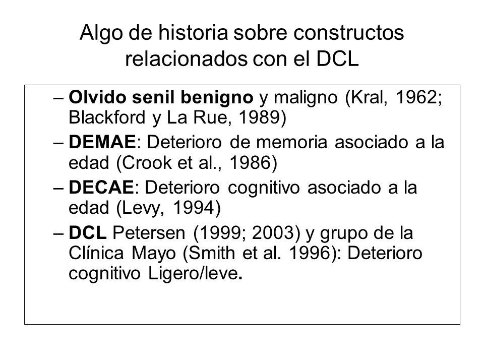 Algo de historia sobre constructos relacionados con el DCL –Olvido senil benigno y maligno (Kral, 1962; Blackford y La Rue, 1989) –DEMAE: Deterioro de
